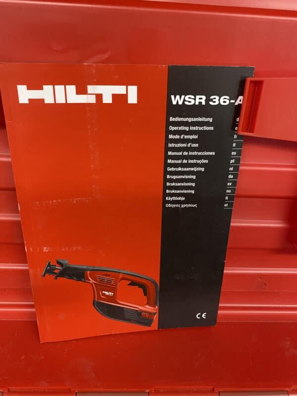 Koneen kuljetuslaatikko Hilti WSR 36-A ja ohjekirja