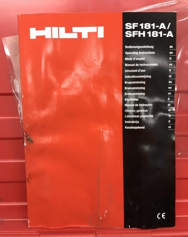 Koneen kuljetuslaatikko Hilti SFH 181-A ja ohjekirja sekä apukahva