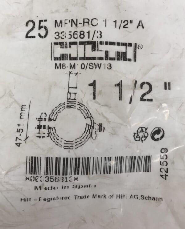Hilti putkenpidin MPN-RC 1 1/2″ A 47-51 mm M8-M10