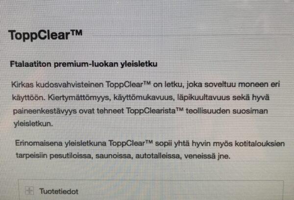 Yleisletku Topp Clear 50*60 mm
